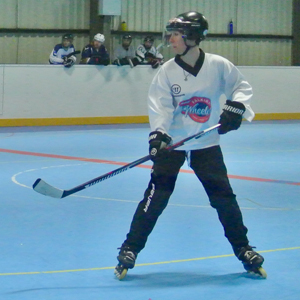Luisa plaing inline hockey at mixed scrims in Dundee Roller Hockey Rink baseed at Manhattan Works